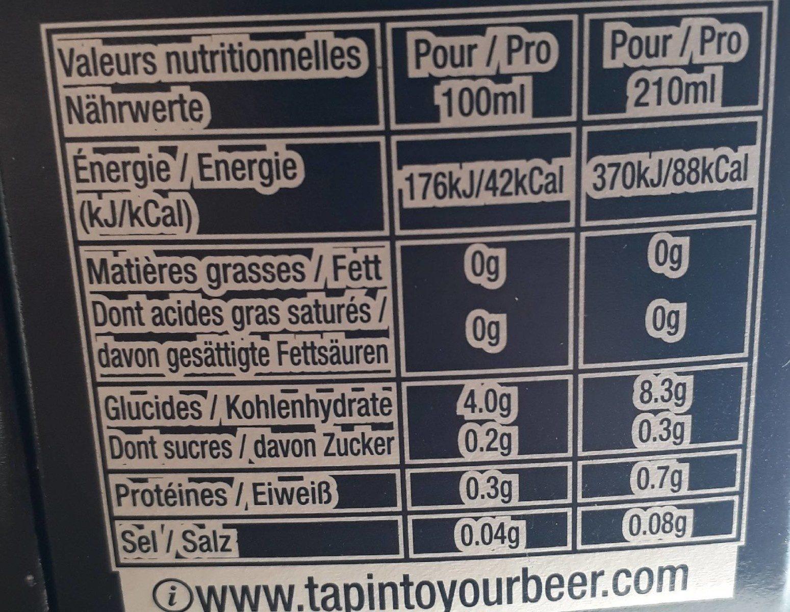 Bière corona - Informations nutritionnelles - fr