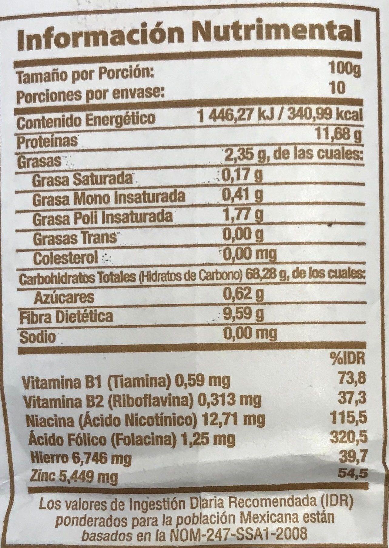 Harina de trigo integral - Informations nutritionnelles - es