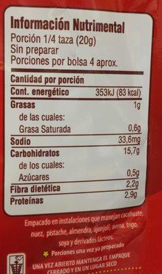 PURE DE PAPA CON QUESO CHEDDAR - Información nutricional - es