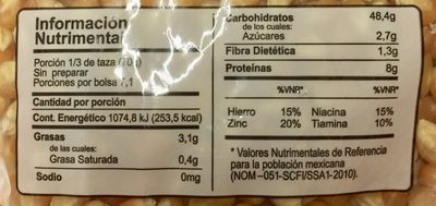 Maíz Palomero Verde Valle - Informations nutritionnelles