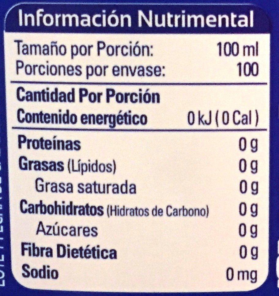 Aguafiel - Ingredients - es