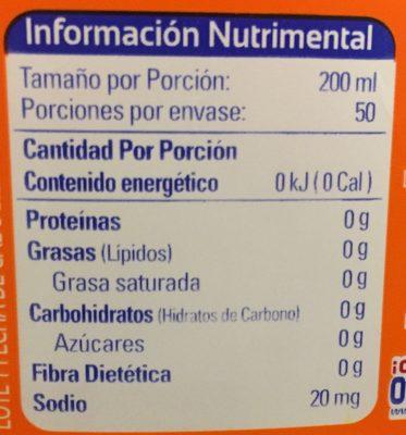 Aguafiel Naranja - Ingredients - es