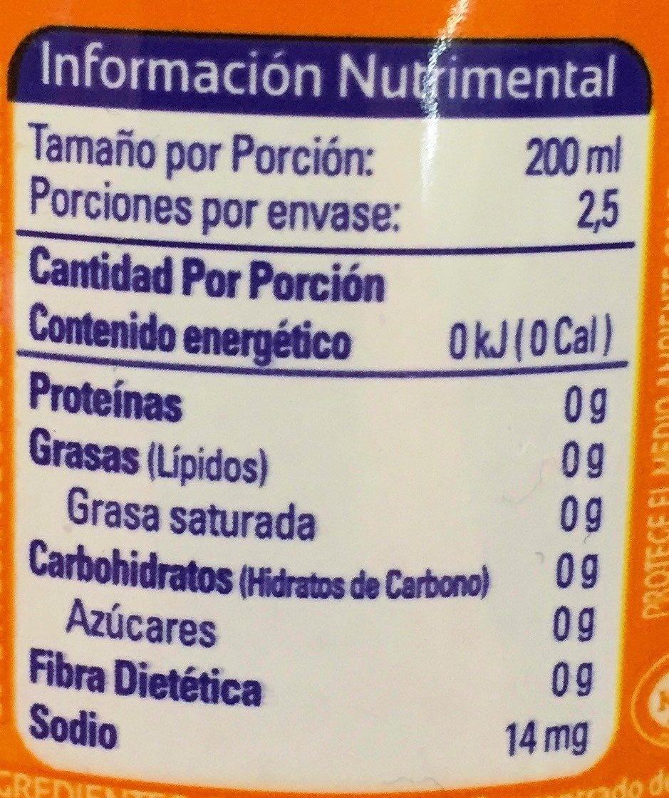 cantidad de carbohidratos del naranja