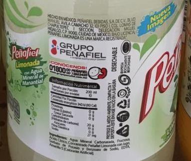Peñafiel Limonada - Nutrition facts - es