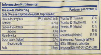Fettucine con espinacas - Información nutricional - es