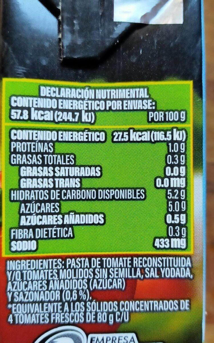 Pulpe tomate - Información nutricional - es