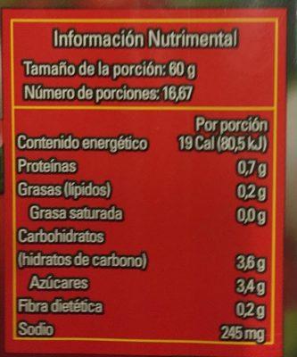 PURE DE TOMATE NATURAL - Voedingswaarden - es