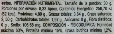 Queso Mozzarella Fresco Liguria - Nutrition facts