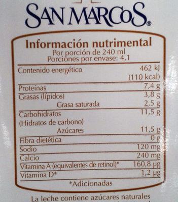 Leche Semidescremada San Marcos - Informations nutritionnelles