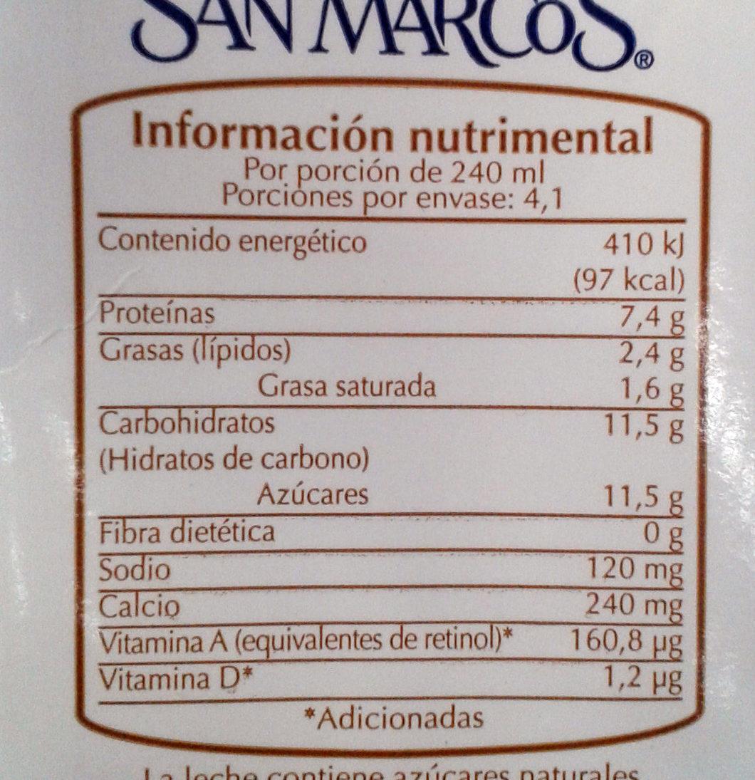 Leche baja en grasa San Marcos - Informations nutritionnelles
