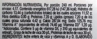 Santa Clara, Leche entera - Información nutricional - es