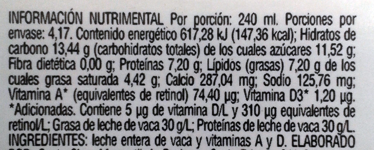 Santa Clara, Leche entera - Valori nutrizionali - es