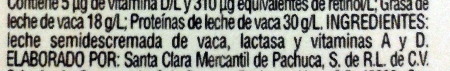 Leche deslactosada - Ingrediënten - es