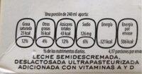 Leche deslactosada - Información nutricional - es