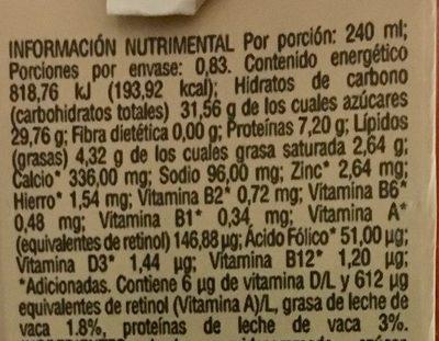 Leche sabor helado de capuchino - Informations nutritionnelles