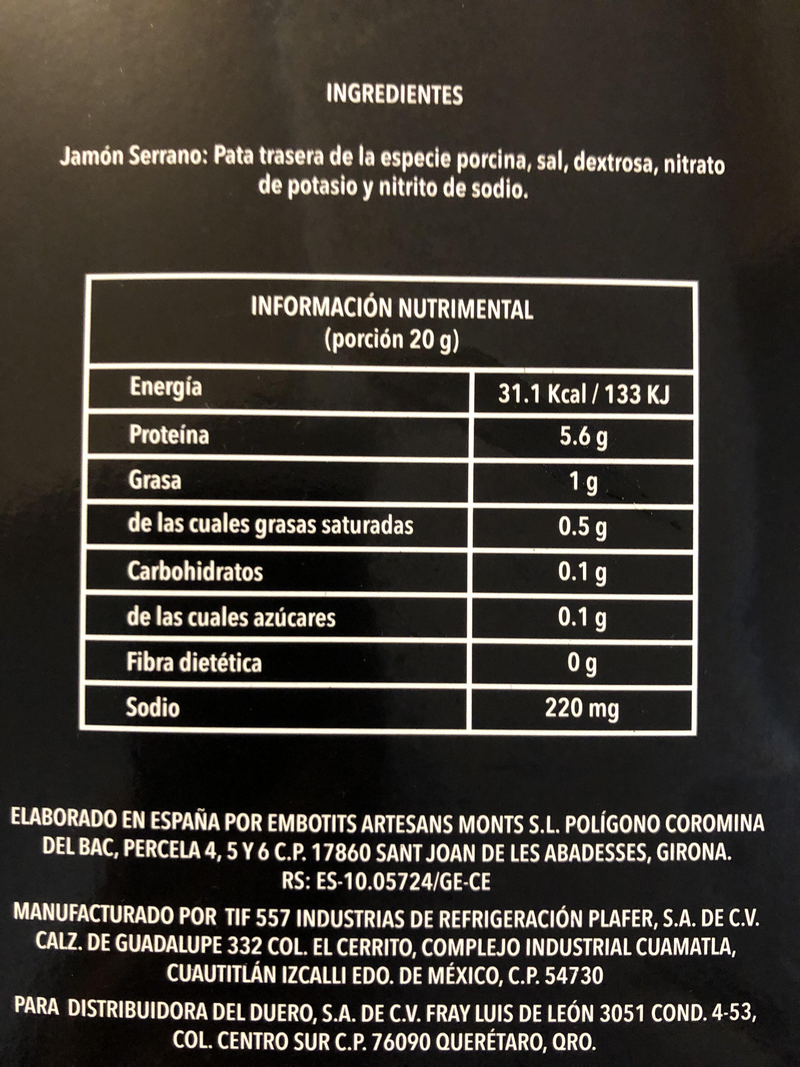 Jamón serrano - Voedingswaarden - es