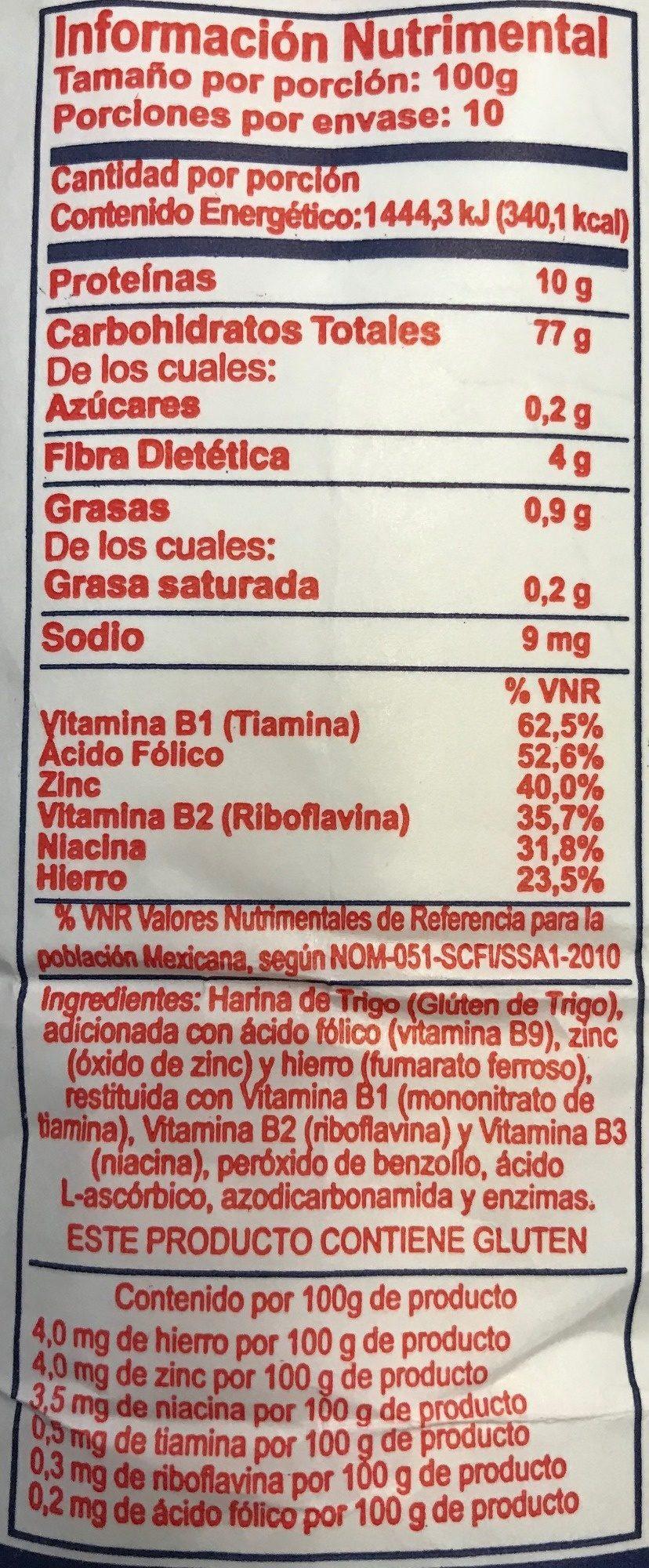 Harina de trigo - Voedingswaarden - es