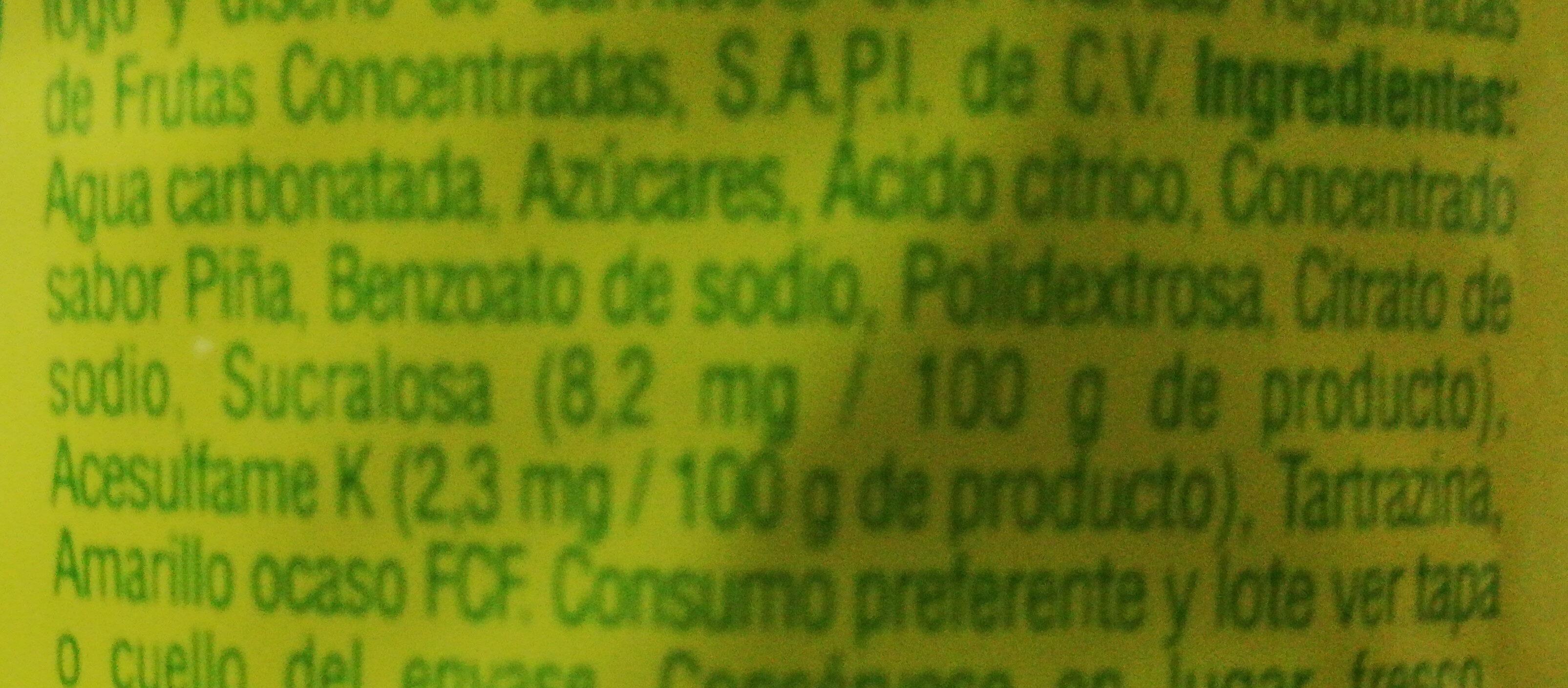 Jarritos sabor piña - Ingrédients