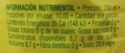 Jarritos sabor piña - Informations nutritionnelles