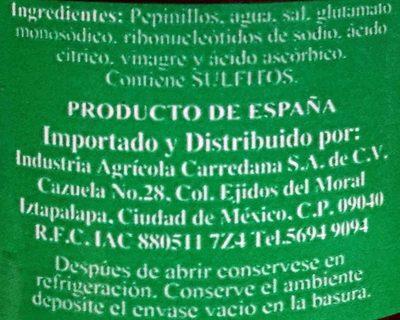 Pepinillos en Vinagre - Ingrédients