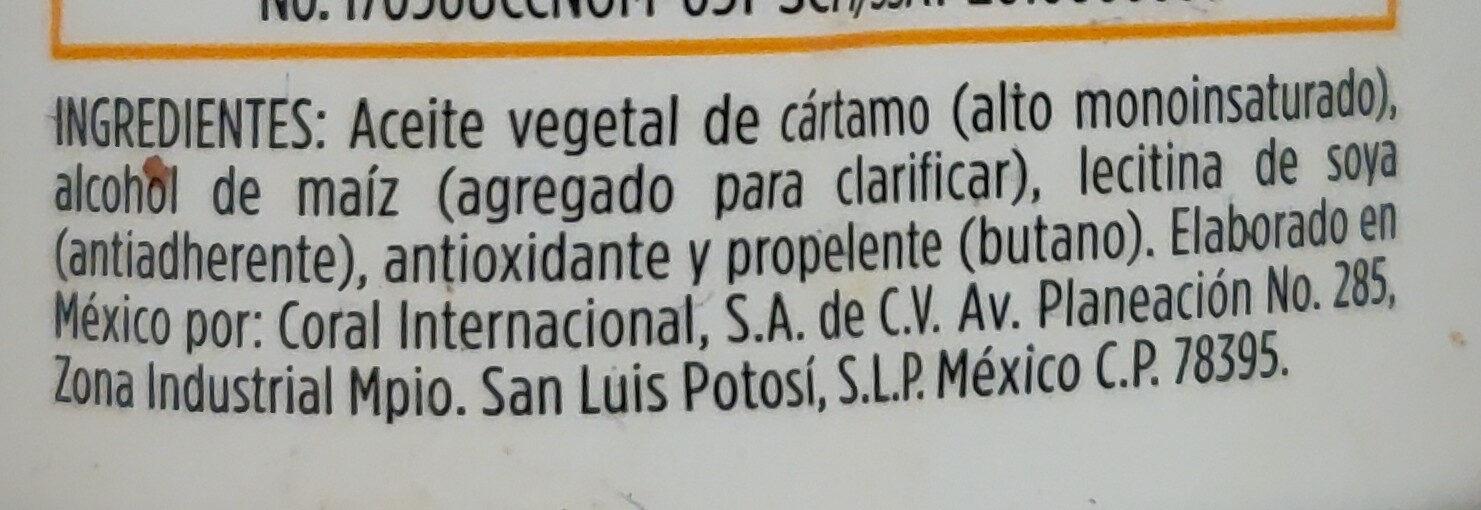 Aceite comestible puro de cártamo sabor natural - Ingredientes - es