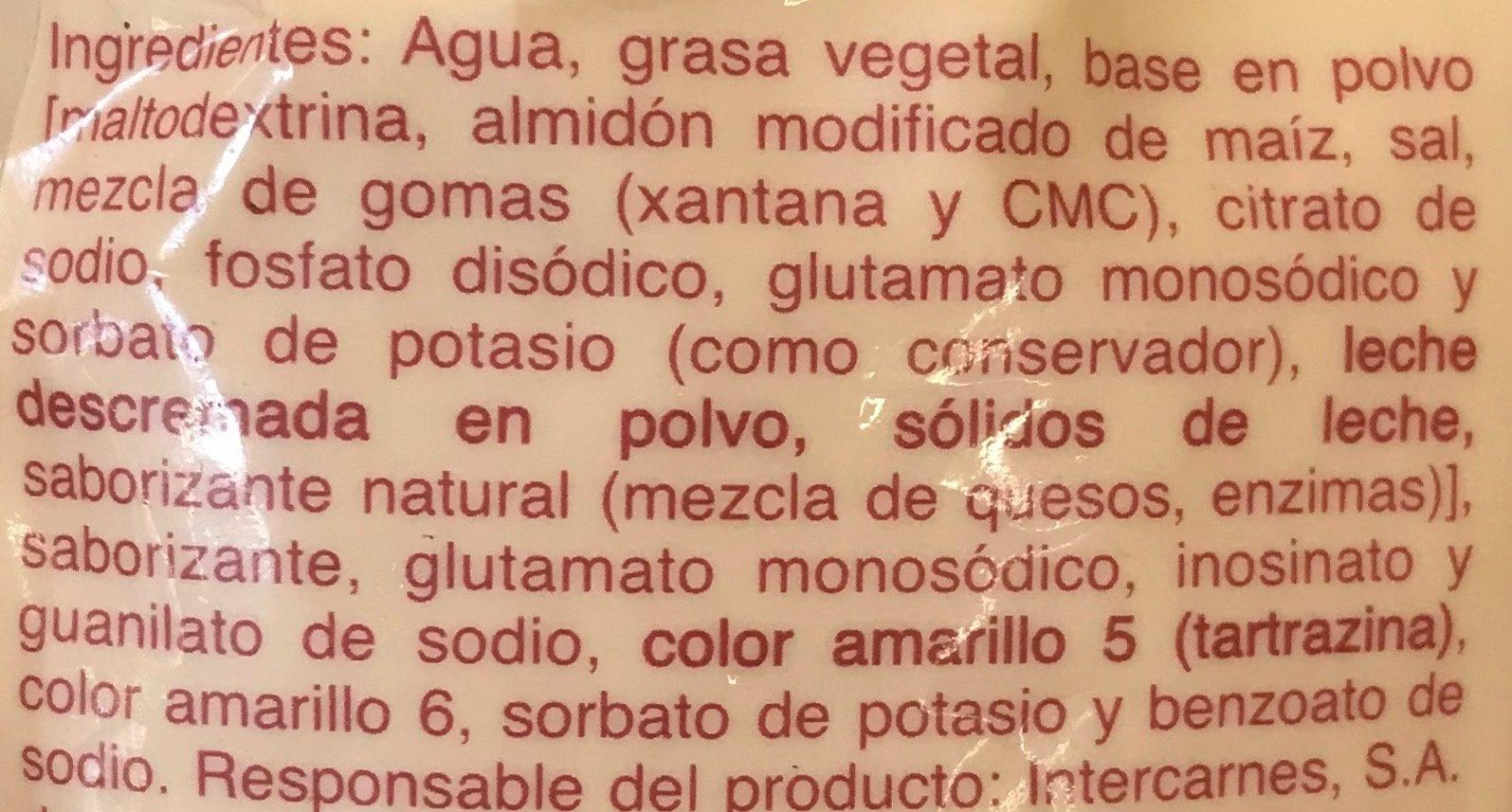 Aderezo para Nachos BURR - Ingrediënten - es