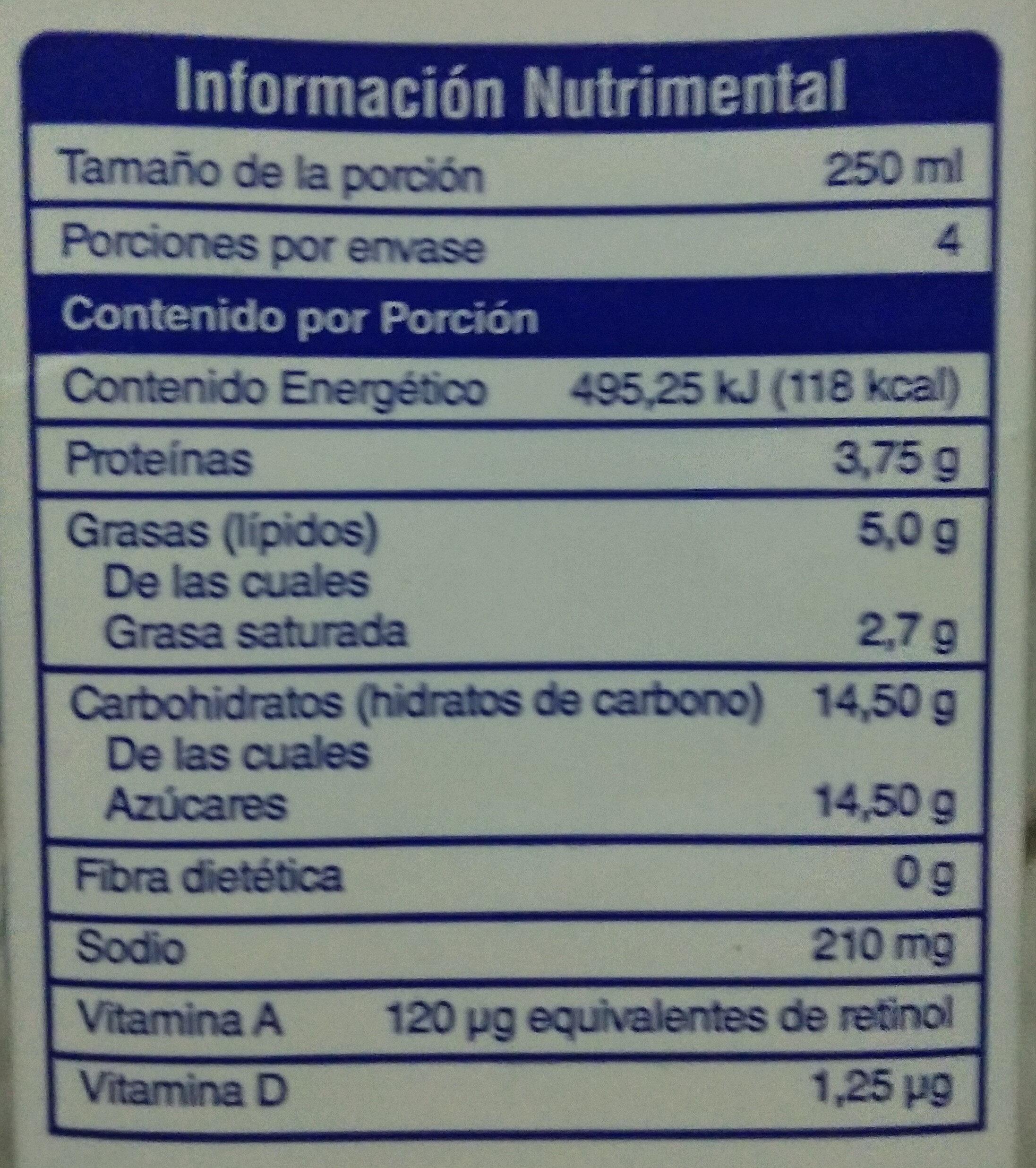 El Puritano - Voedingswaarden - es