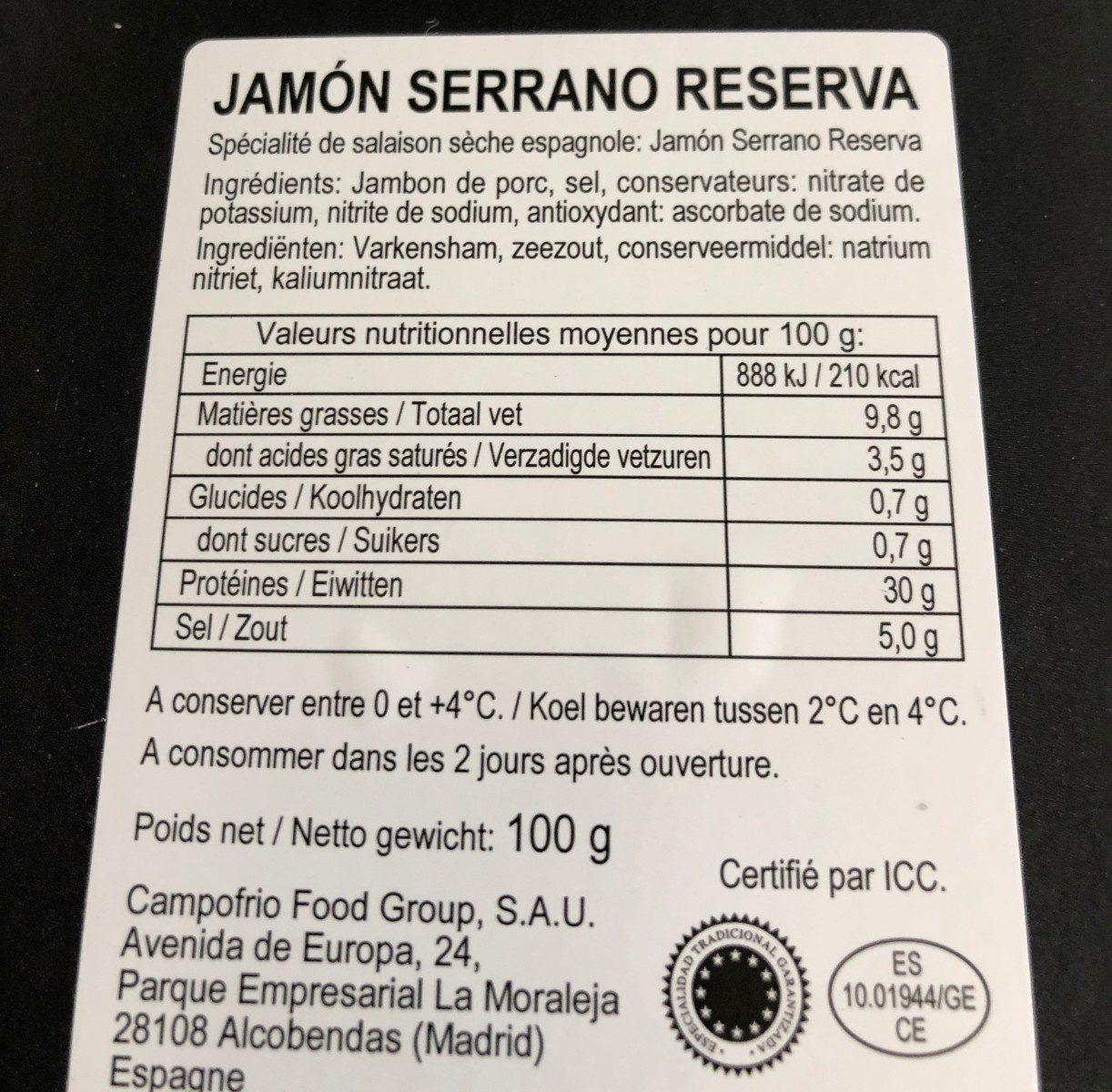 Jamon serrano reserva - Ingrédients