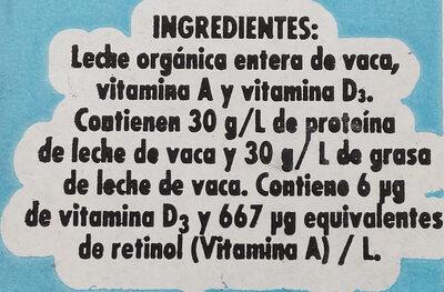Leche entera orgánica - Ingredientes - es