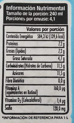 Leche entera orgánica - Información nutricional - es