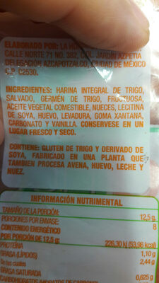 Panecillos Saludfit - Ingredients