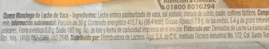 Queso Manchego Esmeralda - Ingrediënten - es