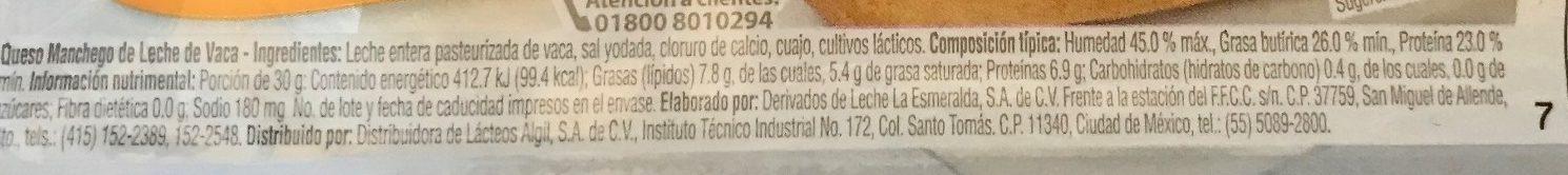 Queso Manchego Esmeralda - Voedingswaarden - es