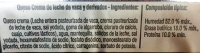 Queso Crema en rebanadas Esmeralda - Ingredients