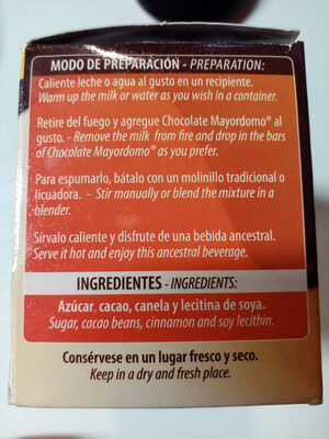 Chocolate Mayordomo - Ingredientes