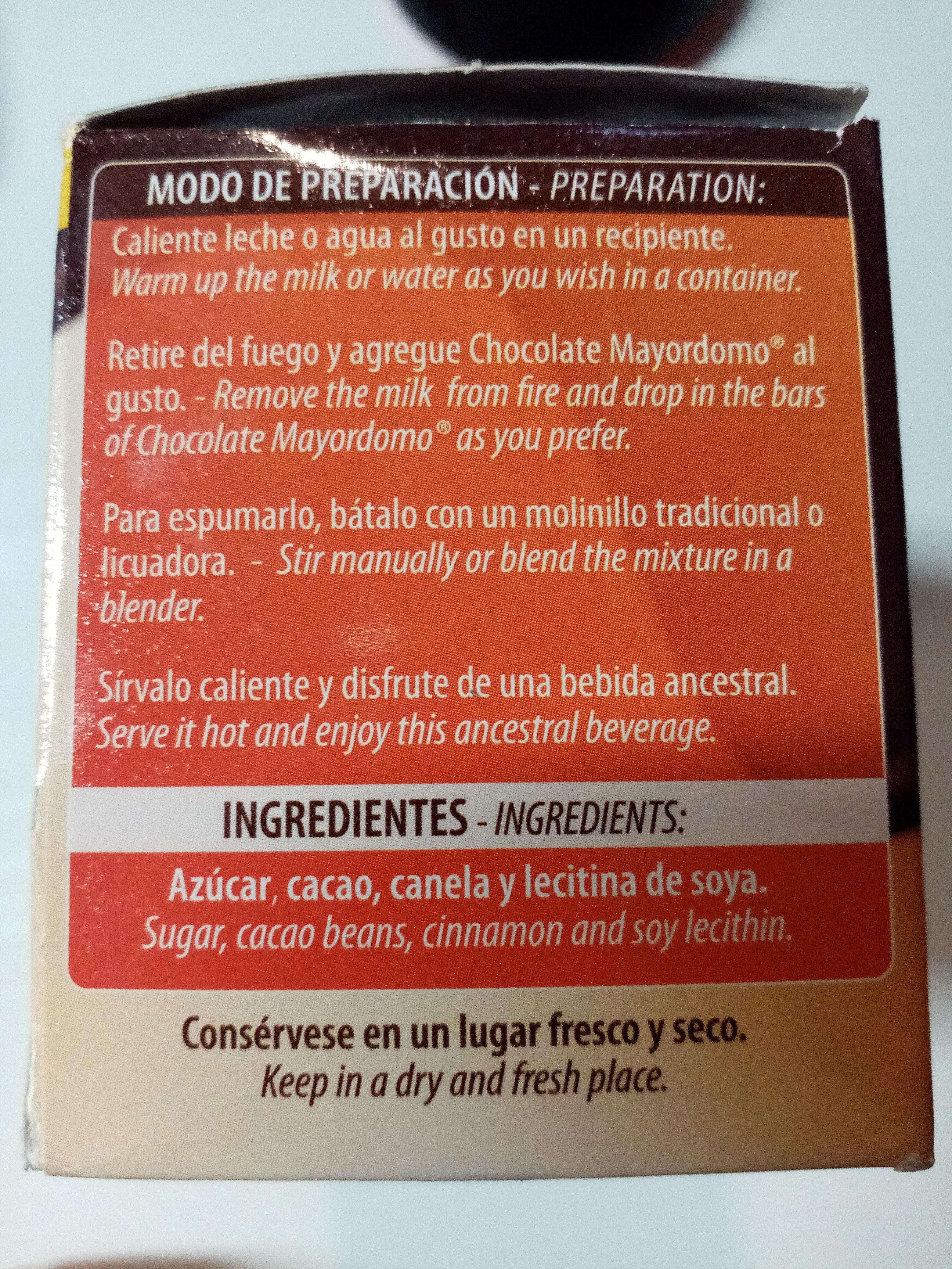Chocolate Mayordomo - Ingredientes - es