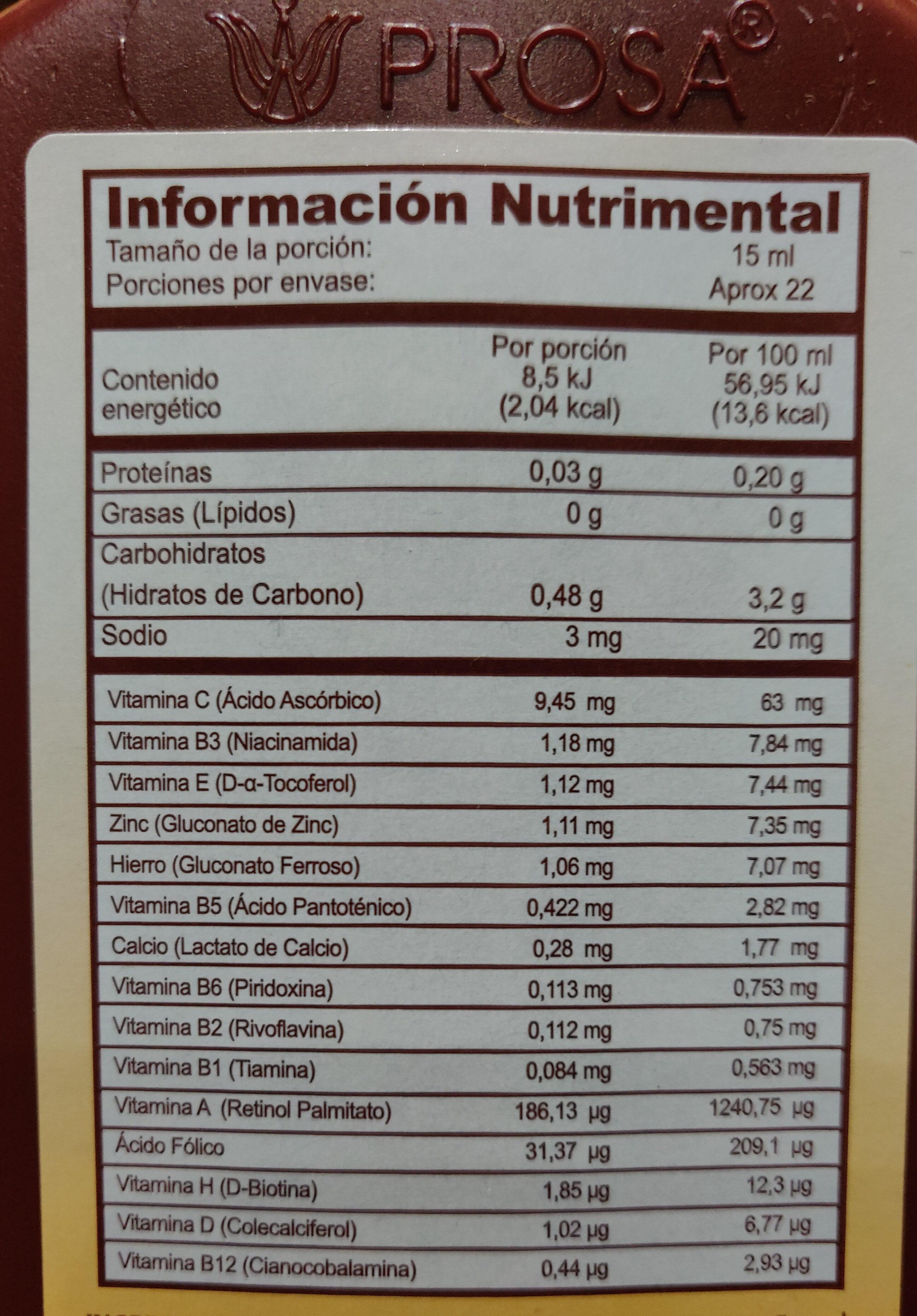Bacao Max - Información nutricional - es