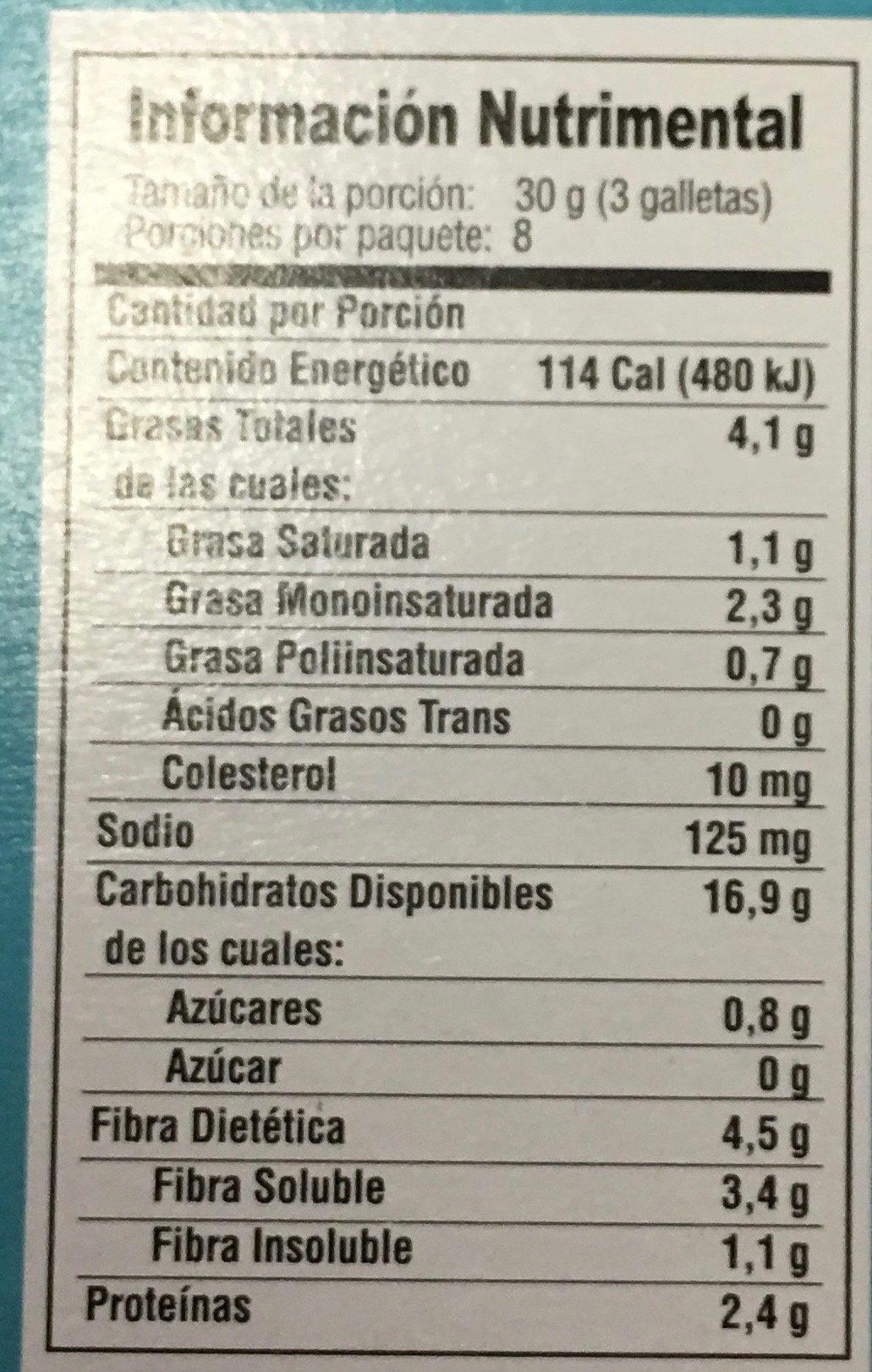 GALLETAS QUAKER VAINILLA - Nutrition facts