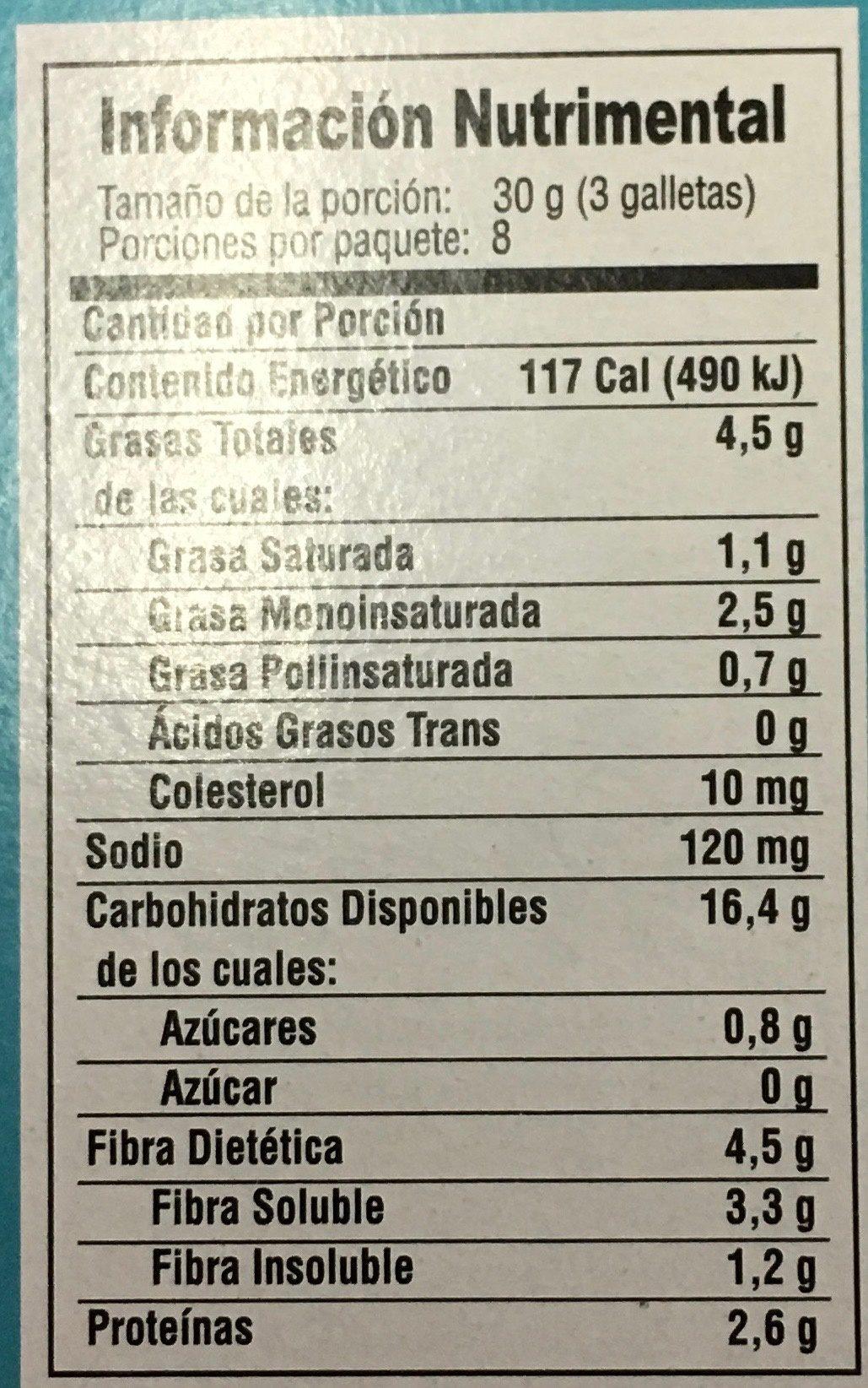GALLETAS QUAKER CON ALMENDRA - Informations nutritionnelles - es