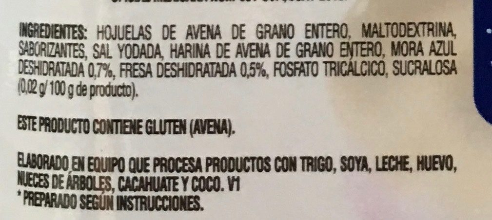AVENA INSTANT MORAS Y YOGURT - Ingredients - es