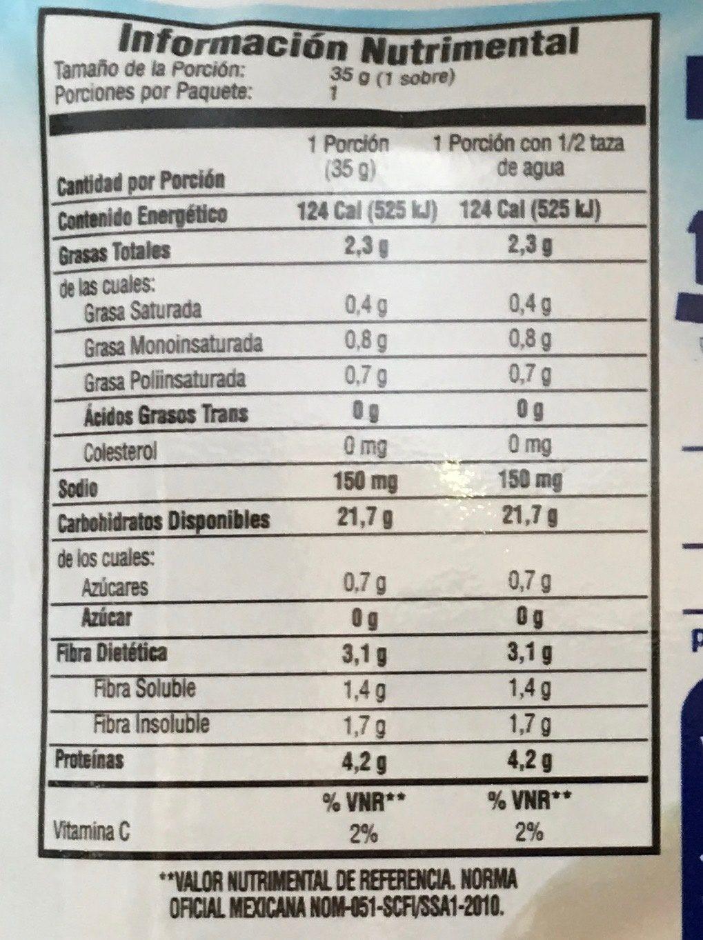 AVENA INSTANT MORAS Y YOGURT - Nutrition facts - es