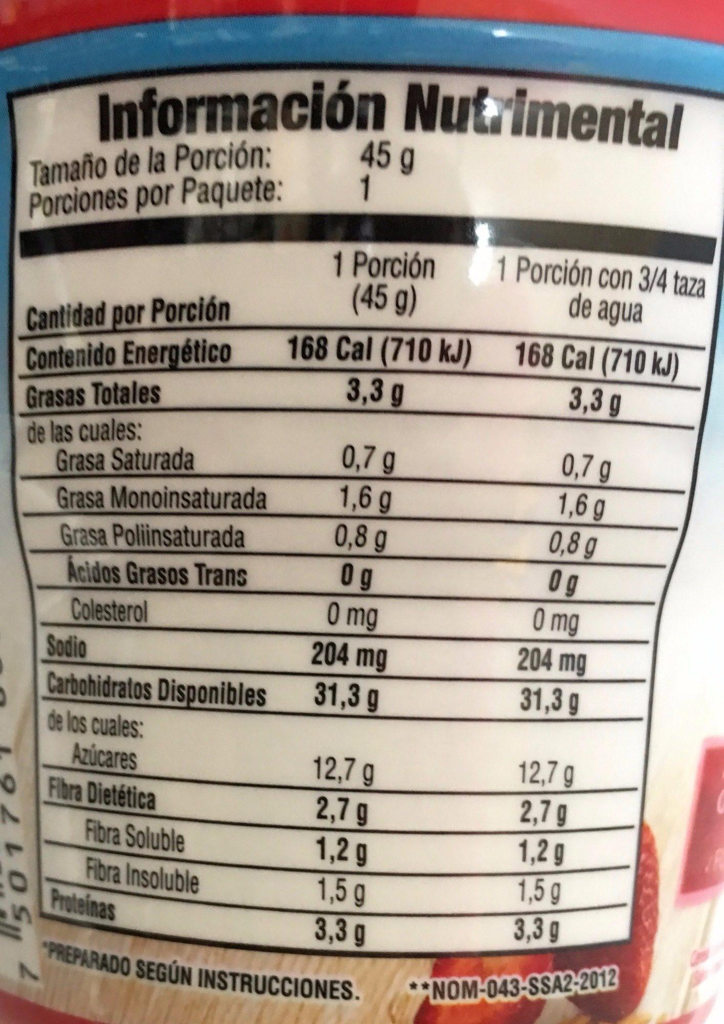 AVENA INSTANT FRESAS CON CREMA - Informations nutritionnelles