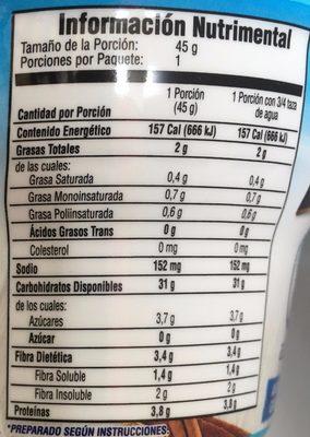 AVENA INSTANT MANZANA Y CANELA - Nutrition facts