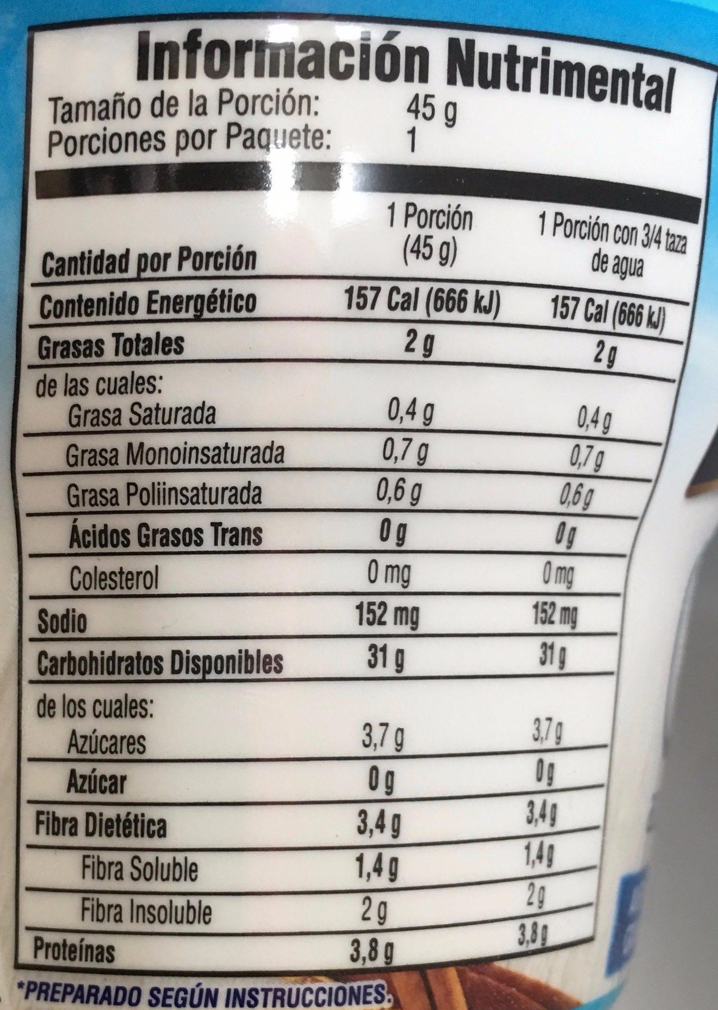 AVENA INSTANT MANZANA Y CANELA - Nutrition facts - es