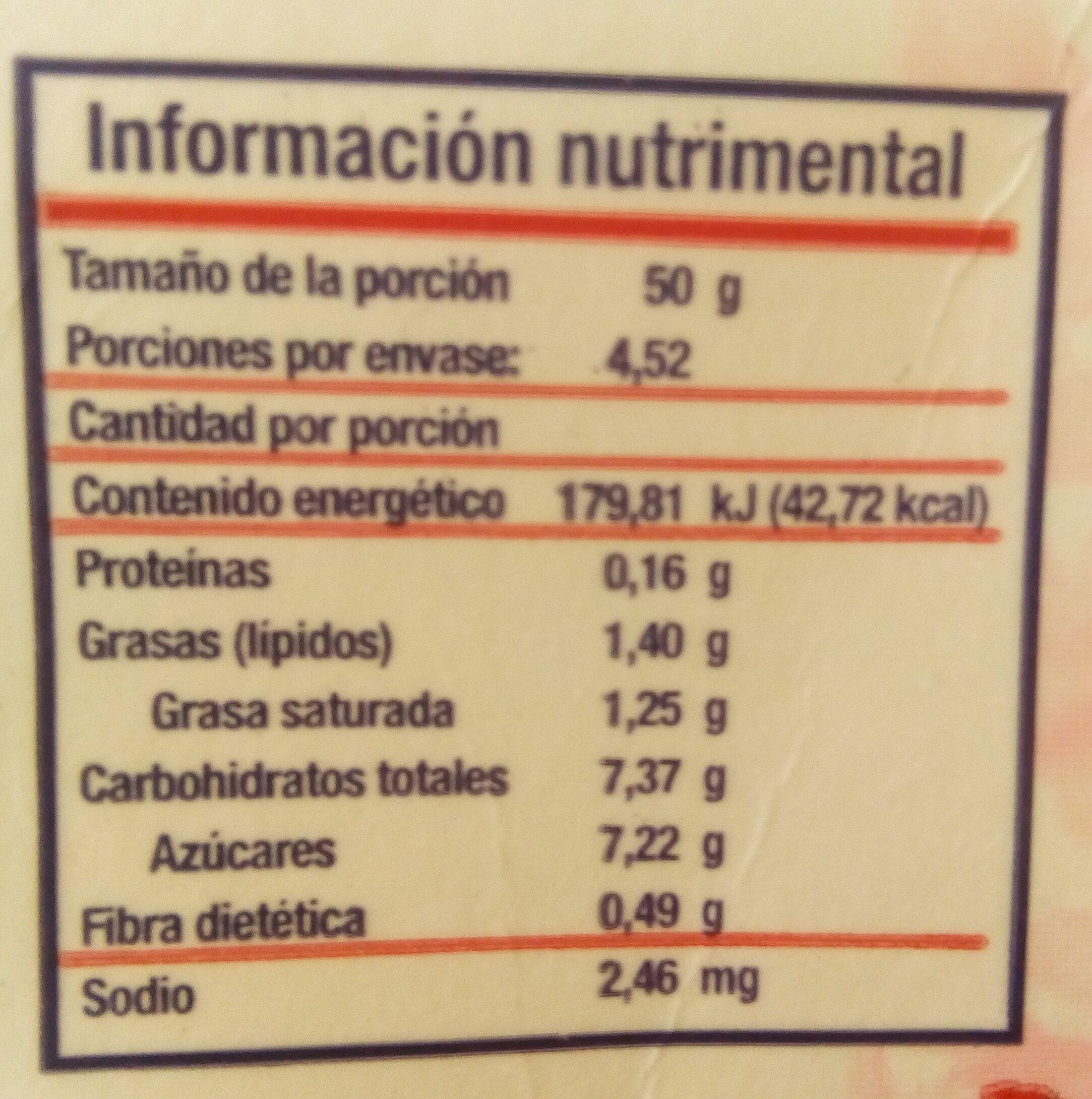 Fresas congeladas - Informations nutritionnelles