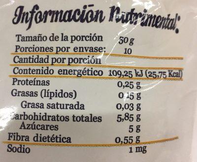 MANGO CONGELADO EN CUBOS - Informations nutritionnelles - es