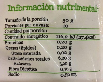 PIÑA CONGELADA EN CUBOS - Informations nutritionnelles - es