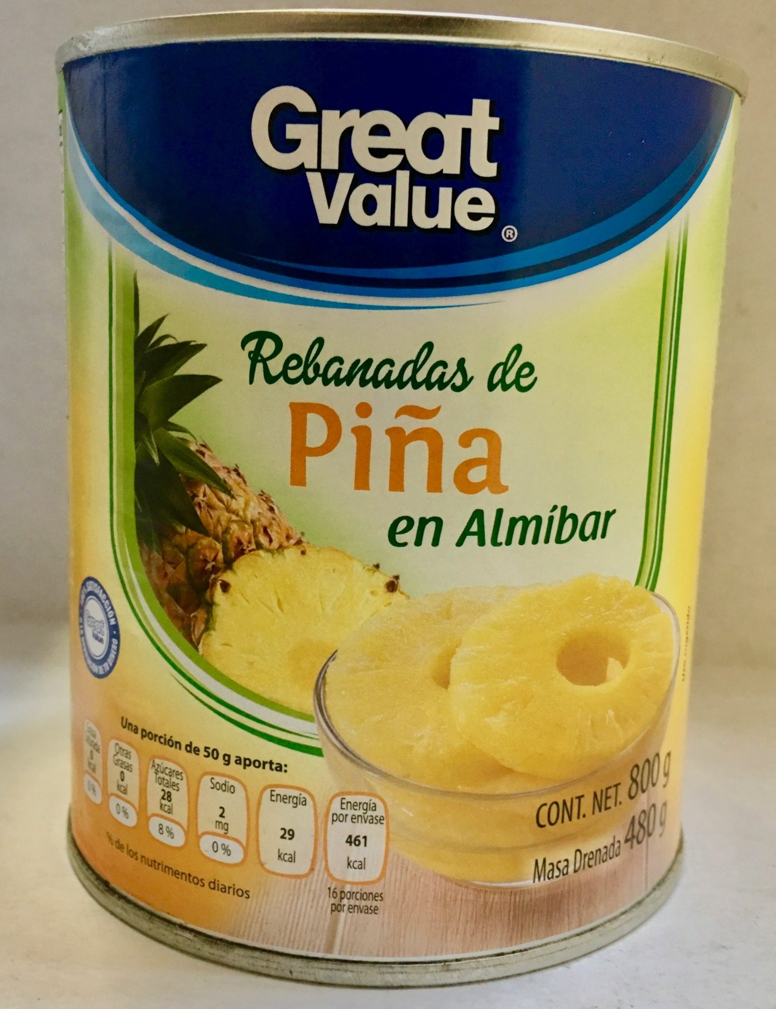 REBANADAS DE PIÑA EN ALMÍBAR GREAT VALUE - Producto - es