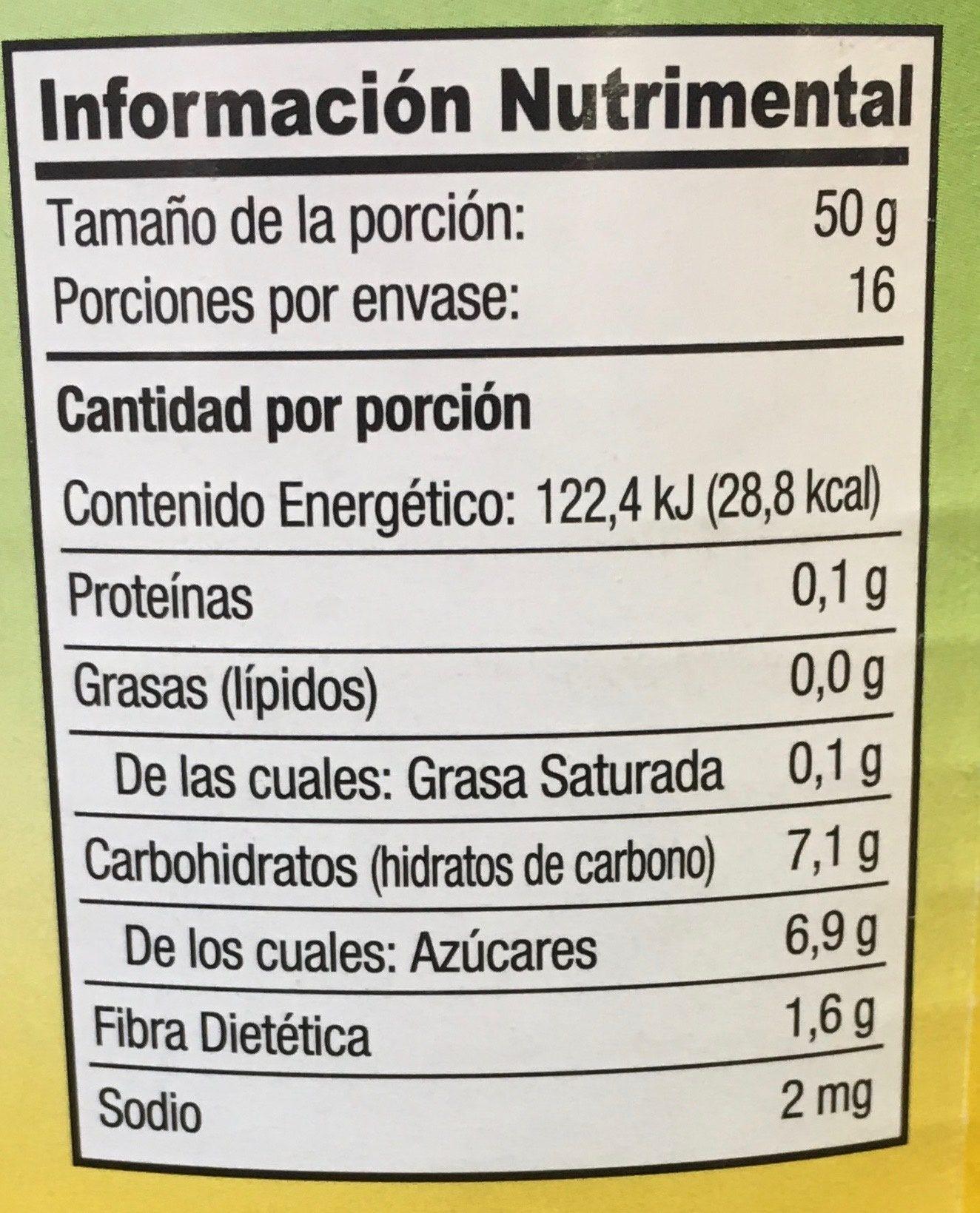 REBANADAS DE PIÑA EN ALMÍBAR GREAT VALUE - Información nutricional - es