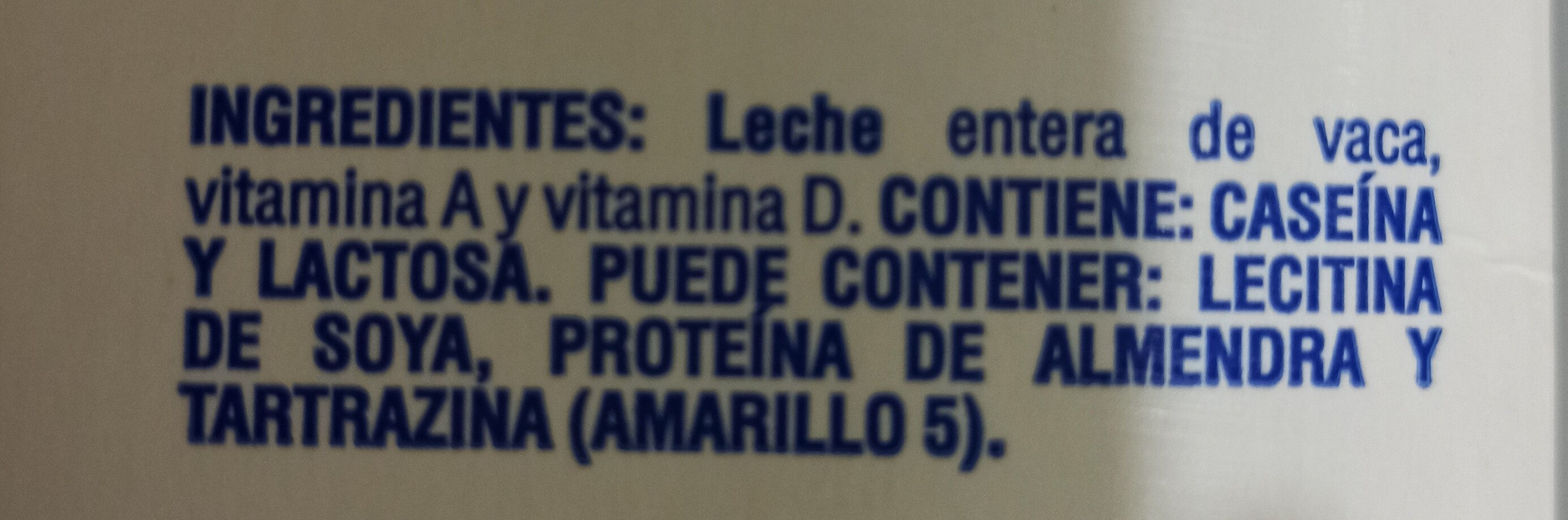 Leche entera - Ingredienti - es